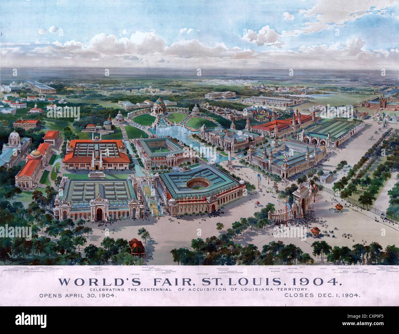 Map Aerial Birds Eye View St Louis Missouri Worlds Fair 1904 Canvas Art Print