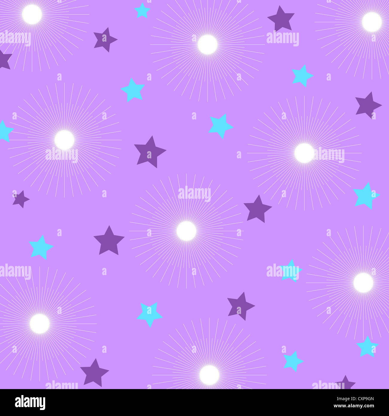 Sparkling stars pattern on violet Stock Photo