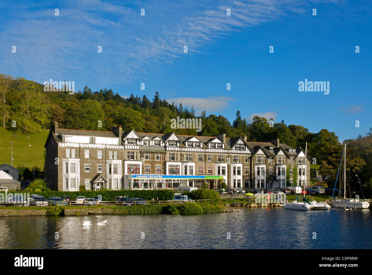 Ambleside Youth Hostel at Waterhead, overlooking Lake Windermere, Lake District National Park, Cumbria, England - Stock Image
