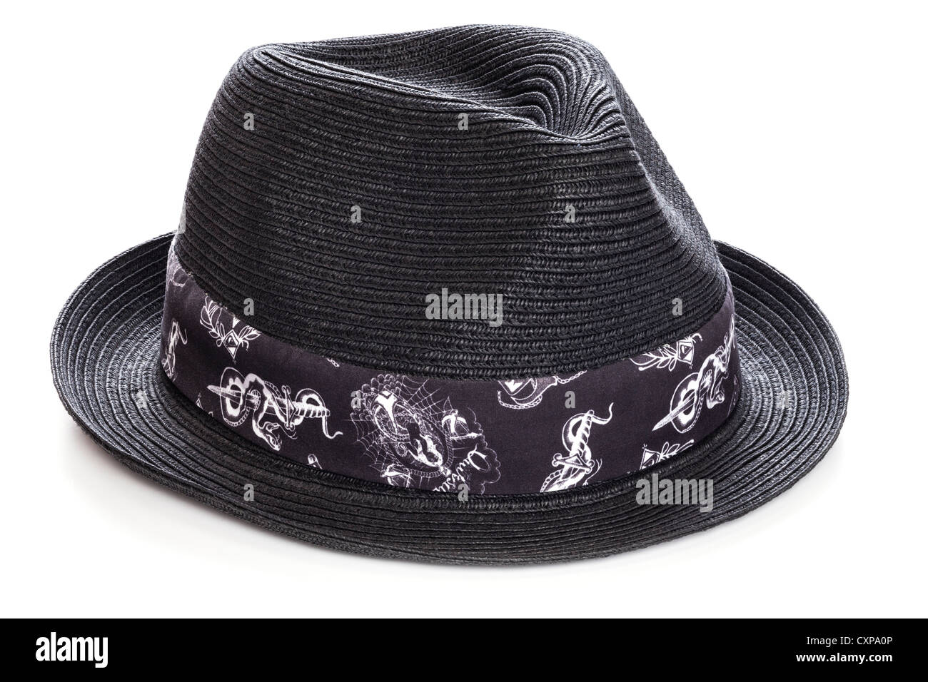 f28ecc269c53e Black straw trilby hat with fancy band, on white background with soft  shadow. Focus