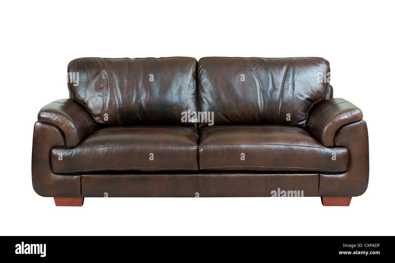 Brown luxury genuine leather sofa isolates on white Stock Photo