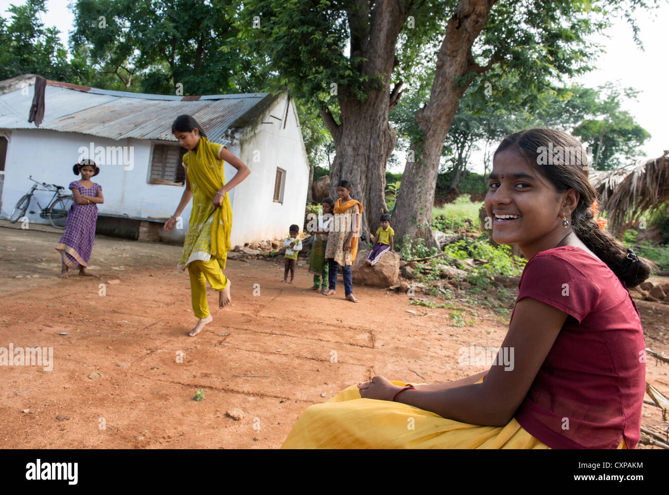 Indian Girls Playing Games In A Rural Indian Village -5556