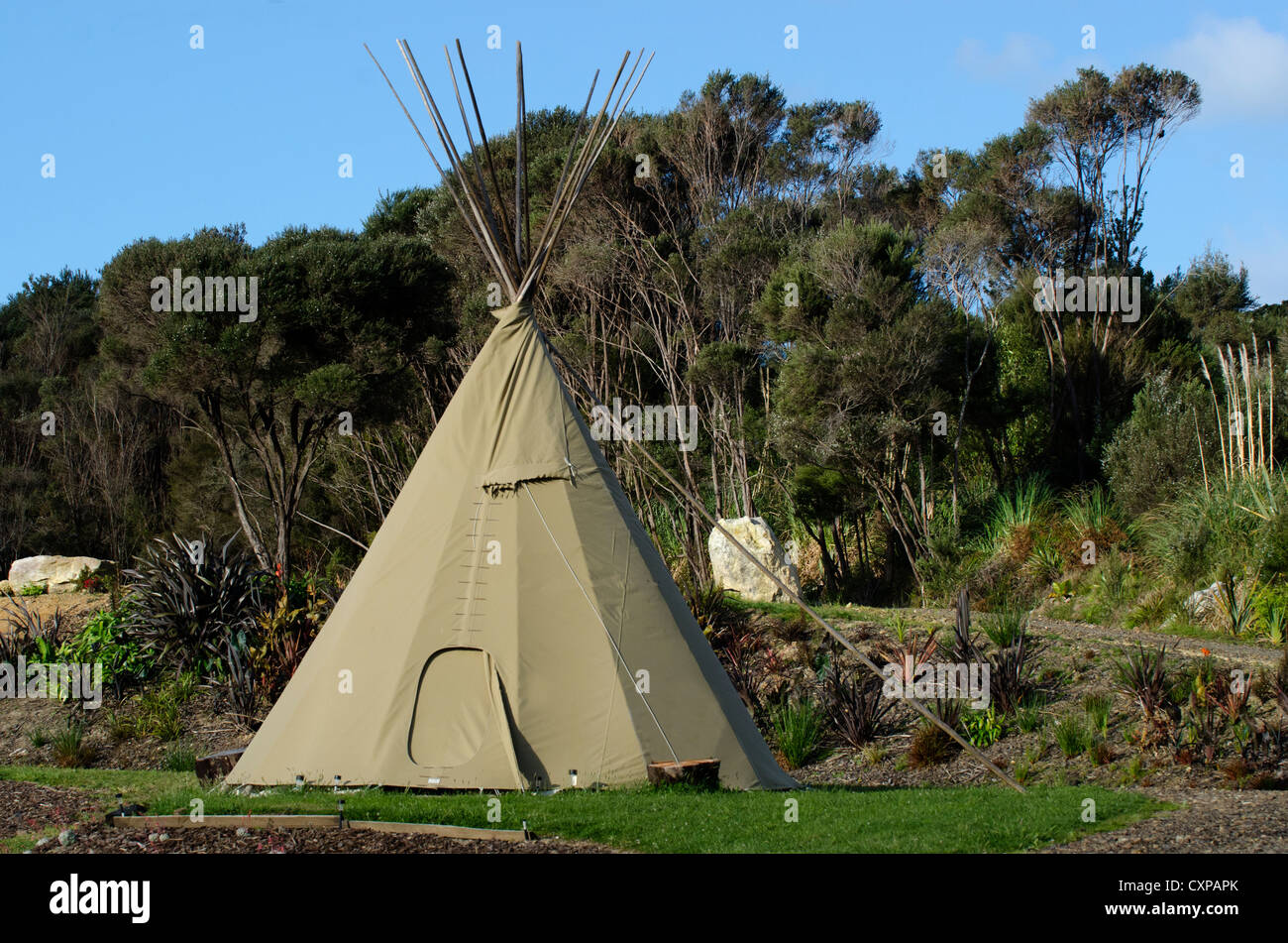 A Tipi (teepee or tepee) a traditional housing for Native Americans Indians in Great Plains and other Western states. - Stock Image