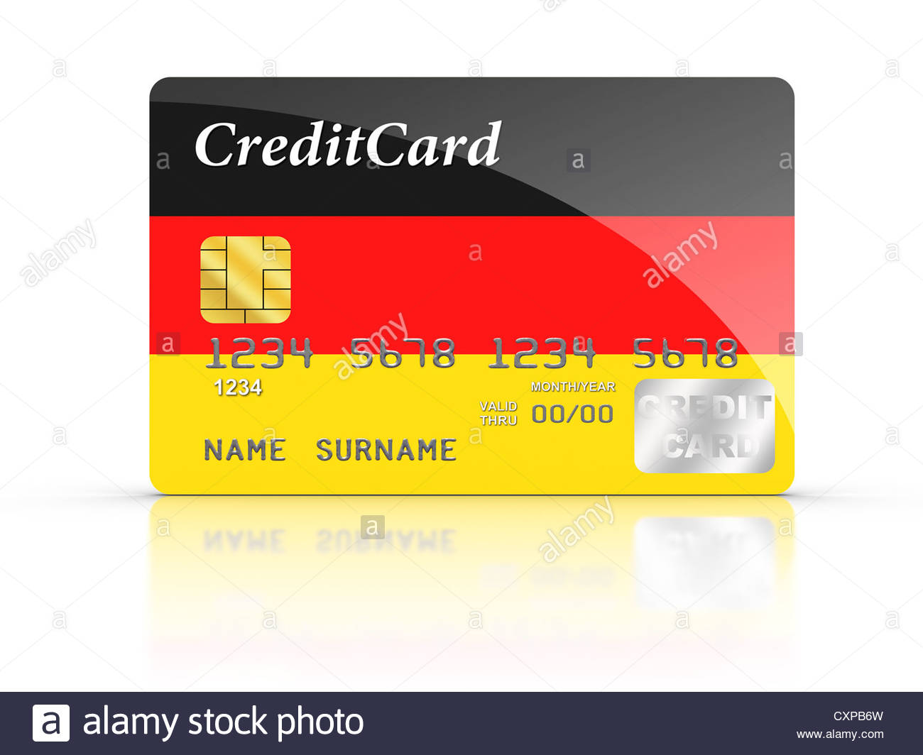 3D rendered Credit Card covered with Germany flag. - Stock Image