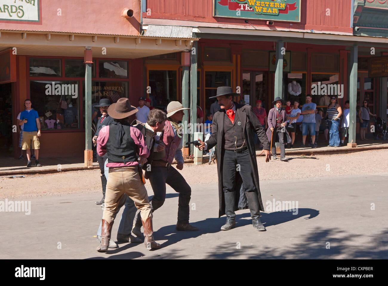 Wyatt Earp (right) reenactment, Allen Street, Tombstone, Arizona, United States of America - Stock Image