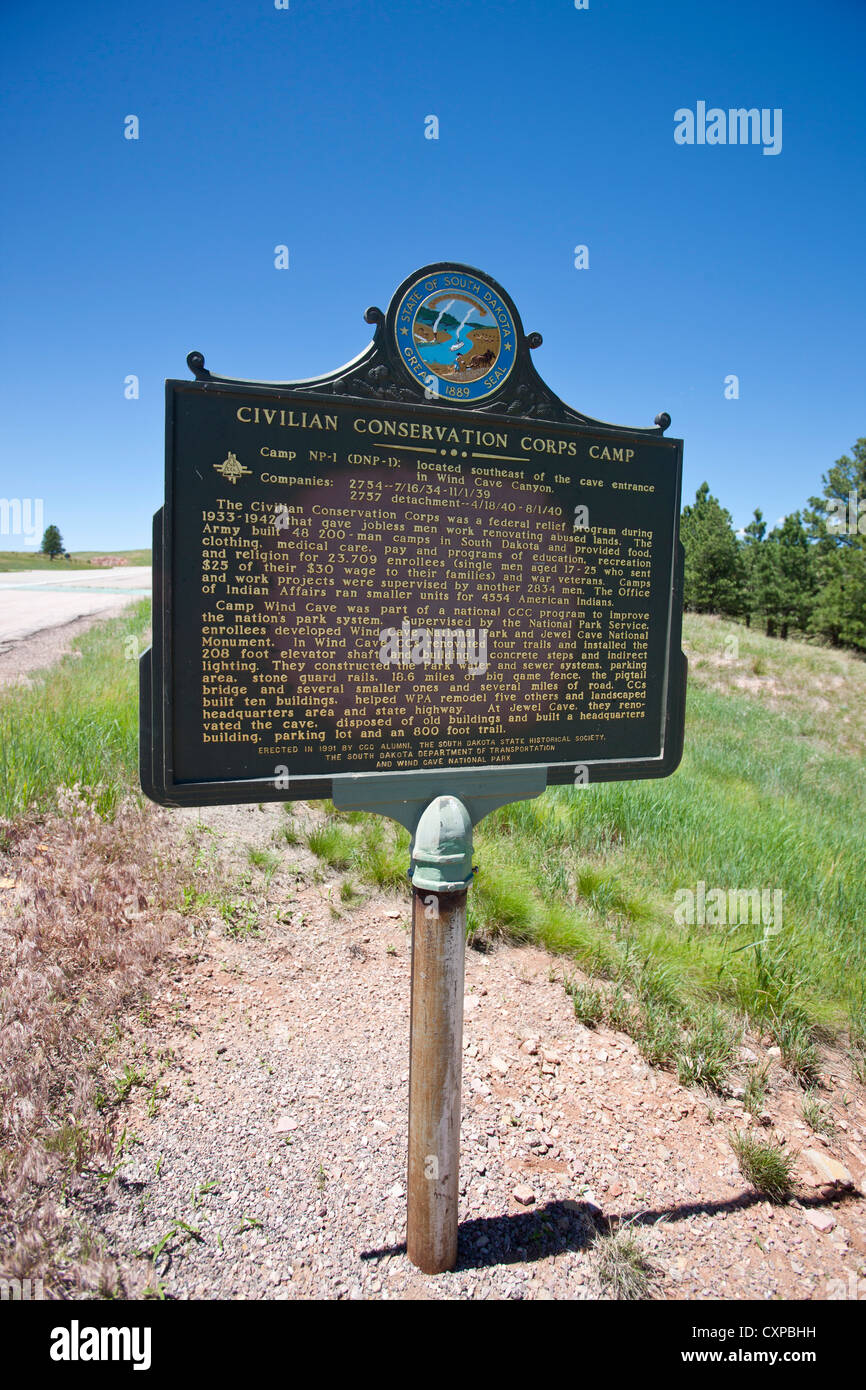 Civilian Conservation Corps Camp historical marker, Custer County, South Dakota, United States of America - Stock Image