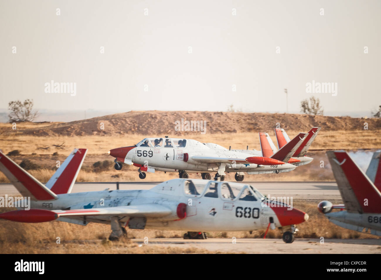 A Fouga Magister (Tzukit) Plane of the Israeli Air force' Aerobatic team lands during an Airshow, December 2008 - Stock Image