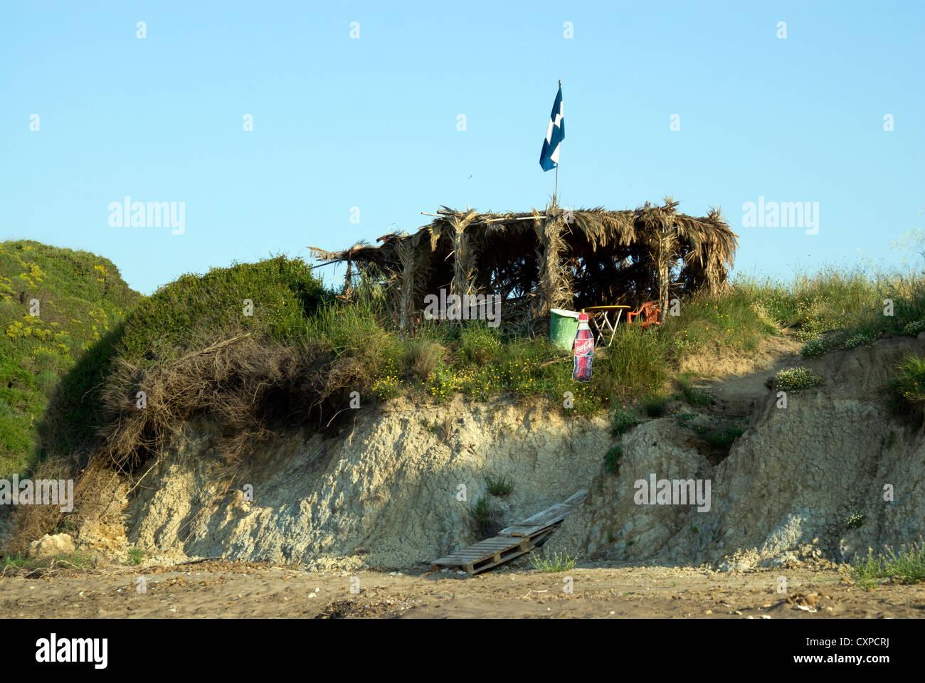 beach side snack bar crystal beach kalamaki zante / kakynthos ionian islands greece - Stock Image