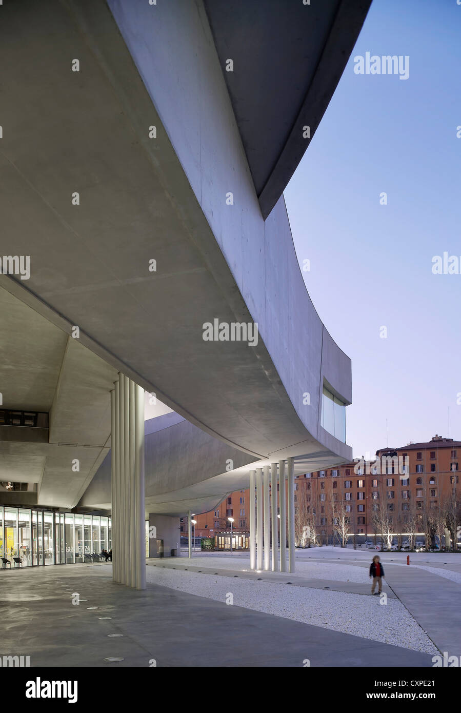 MAXXI – National Museum of the 21st Century Arts, Rome, Italy. Architect: Zaha Hadid Architects, 2009. Dusk exterior. - Stock Image