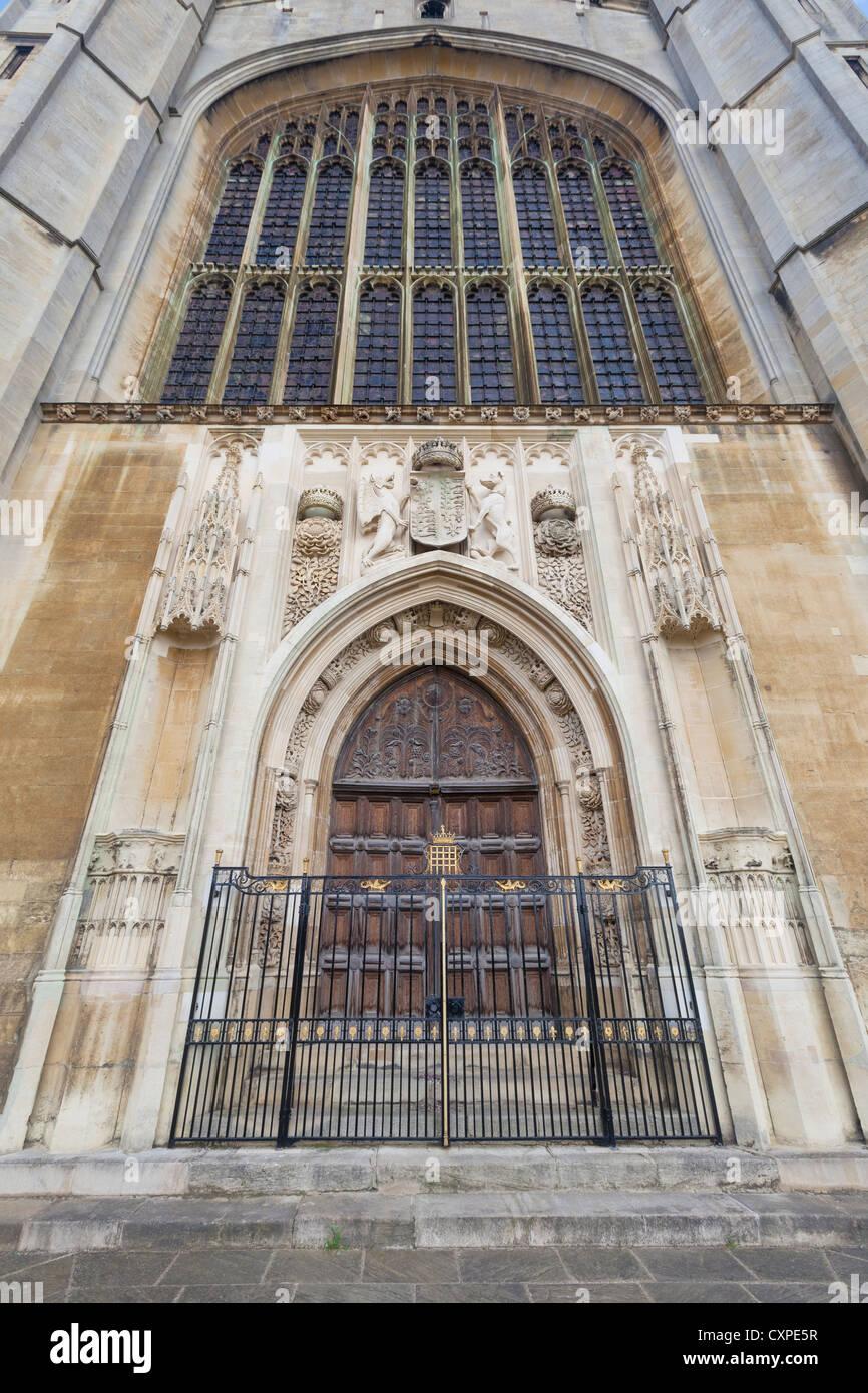 Main entrance to King's college chapel, Cambridge, England - Stock Image