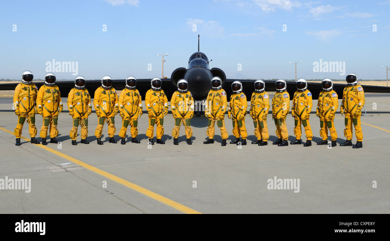 Fourteen US Air Force U-2 Dragon Lady Intelligence, Surveillance and Reconnaissance Aircraft instructor pilots from - Stock Image