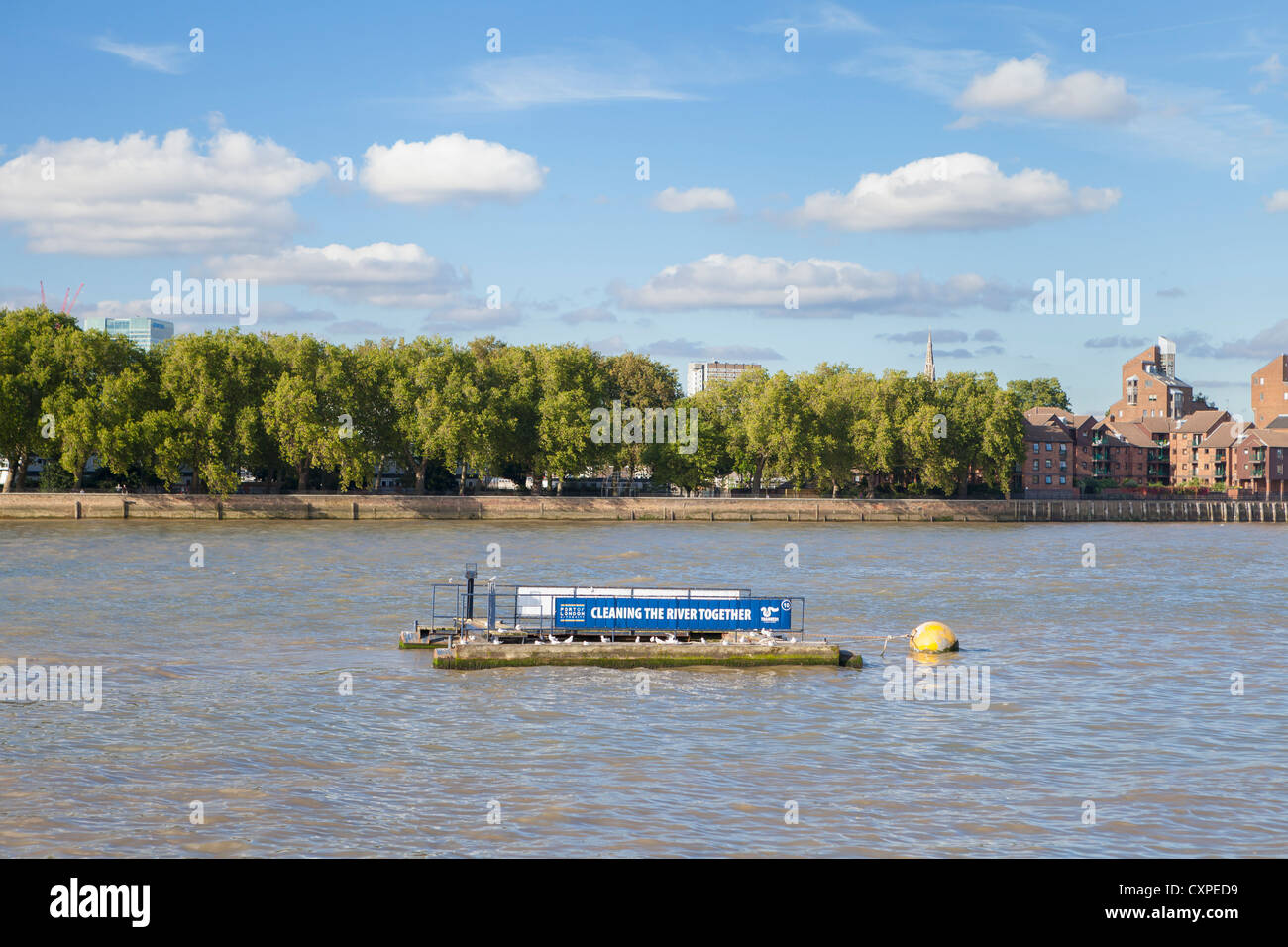 A litter trap on the river Thames, London, UK - Stock Image