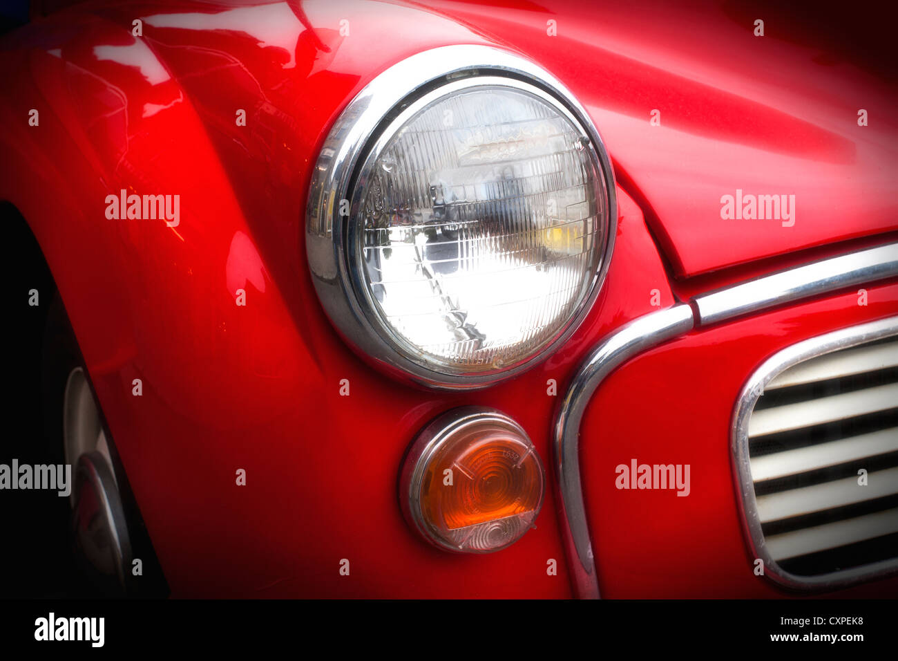 A red Morris Traveller van in Gloucestershire, UK Stock Photo