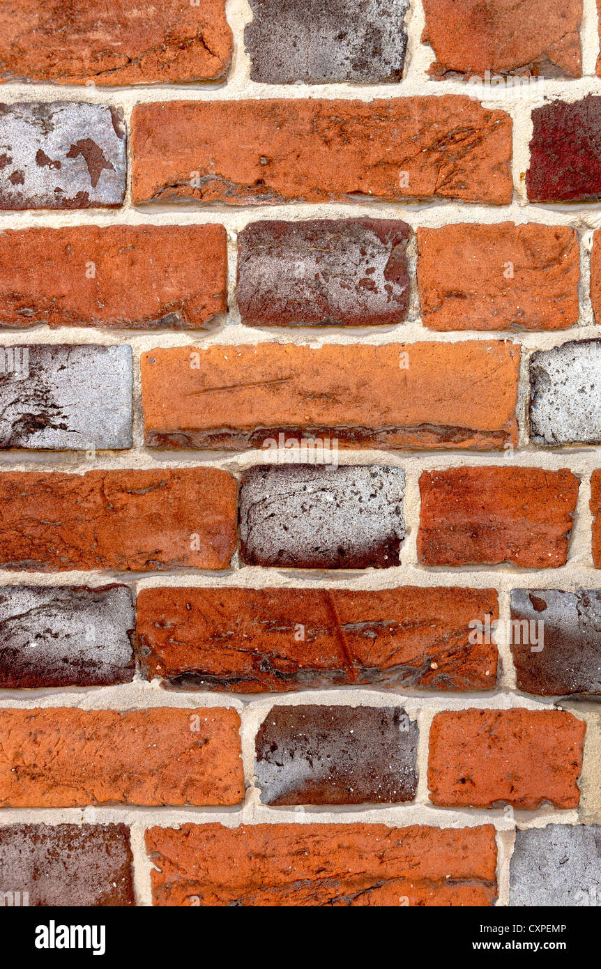 An example of Flemish Bond brickwork with horizontal bricks (stretchers) alternating with end-on (headers) - Stock Image