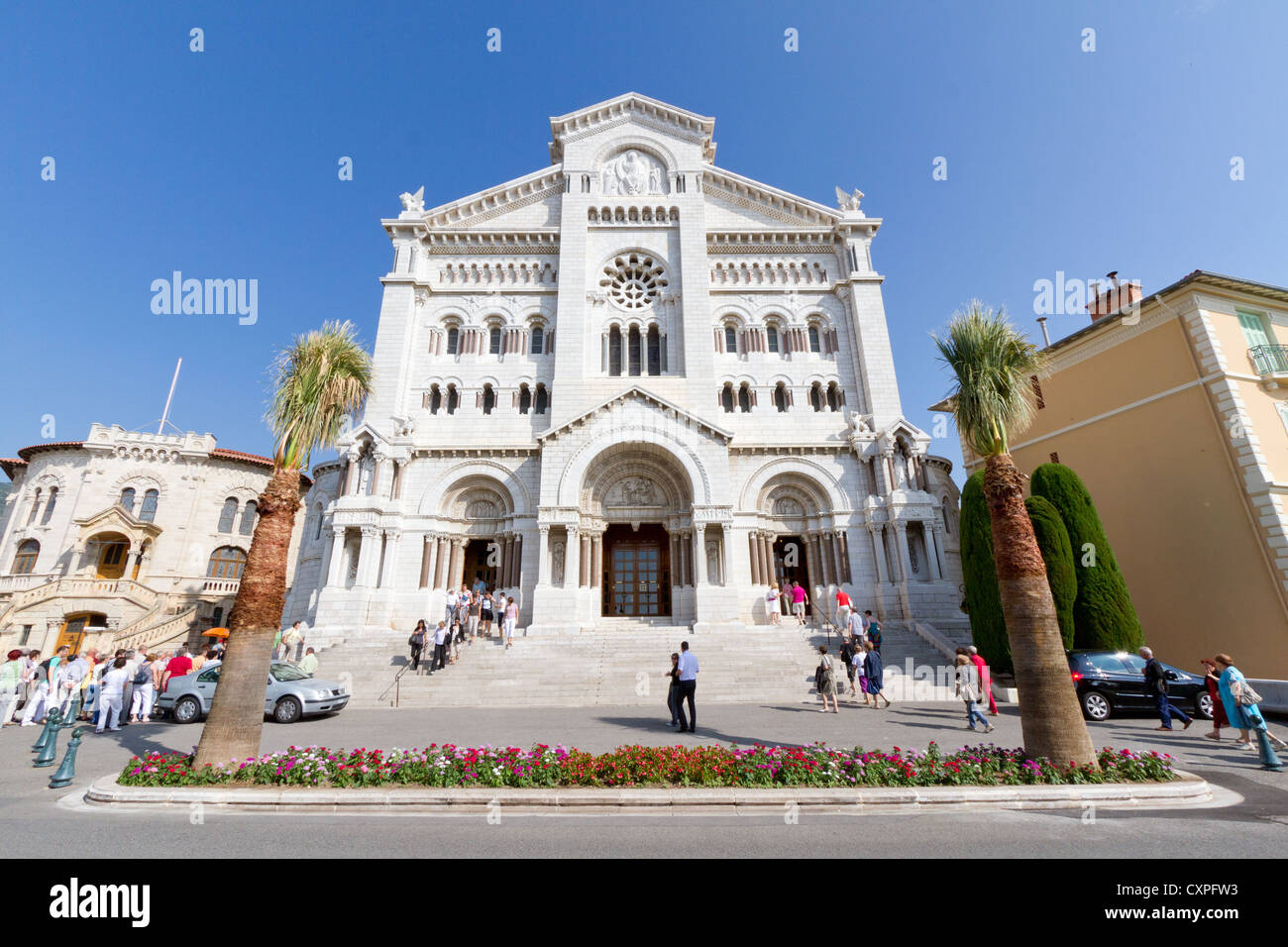 Saint Nicholas Cathedral, Monaco, where many of the Grimaldis were buried, including Grace Kelly and more recently, - Stock Image