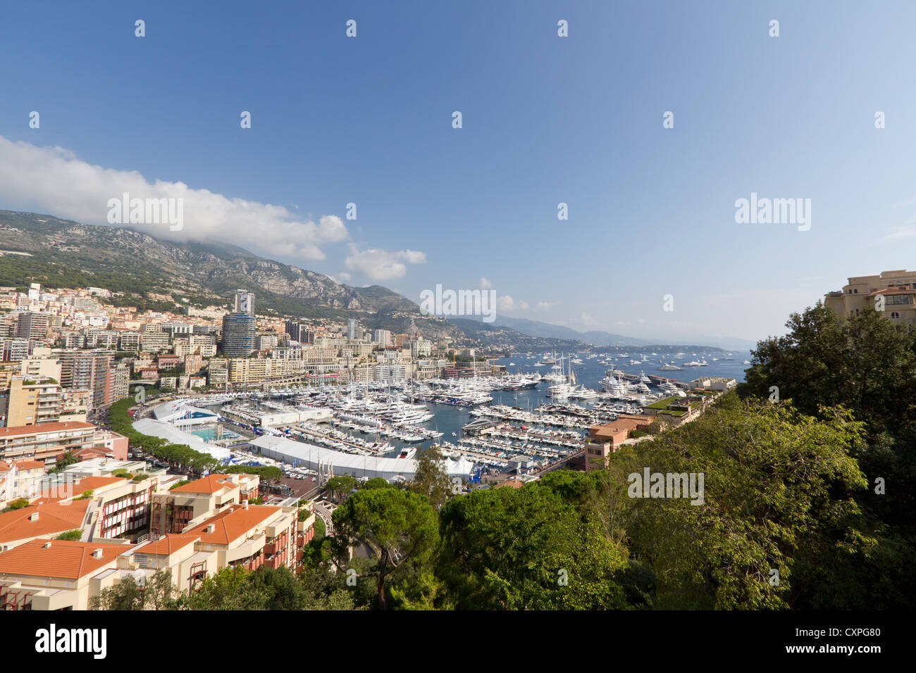 View at the Monte Carlo bay with yachts - Stock Image