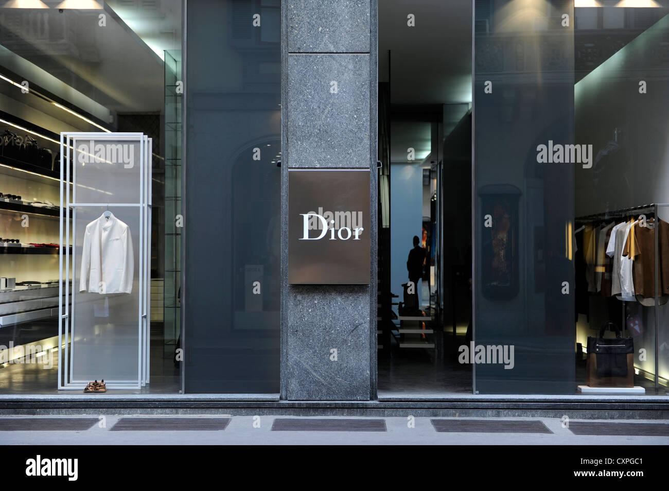 Dior shop. Via Montenapoleone. Milan, Italy - Stock Image