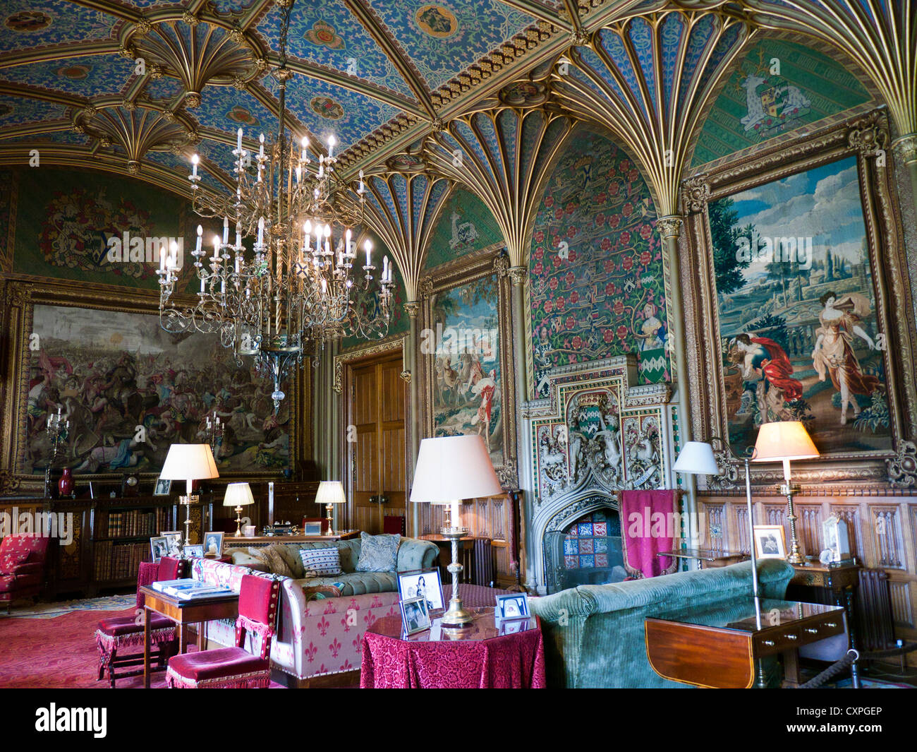 Gothic drawing room by Pugin in Eastnor castle in Britain - Stock Image