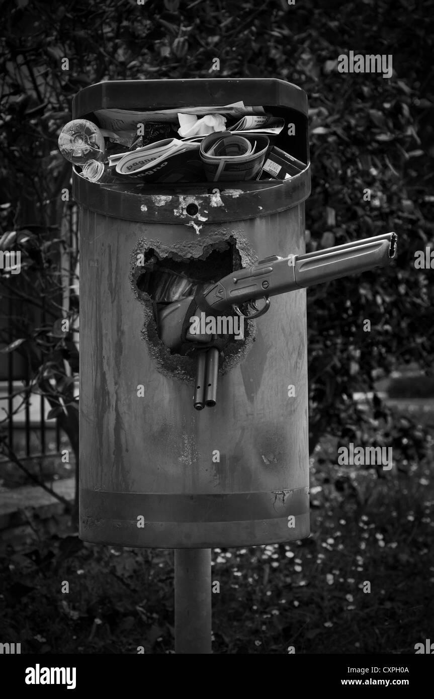 Full rubbish bin - Stock Image