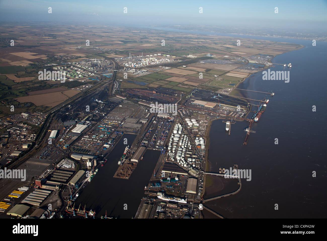 aerial Immingham Dock  river humber abp uk - Stock Image