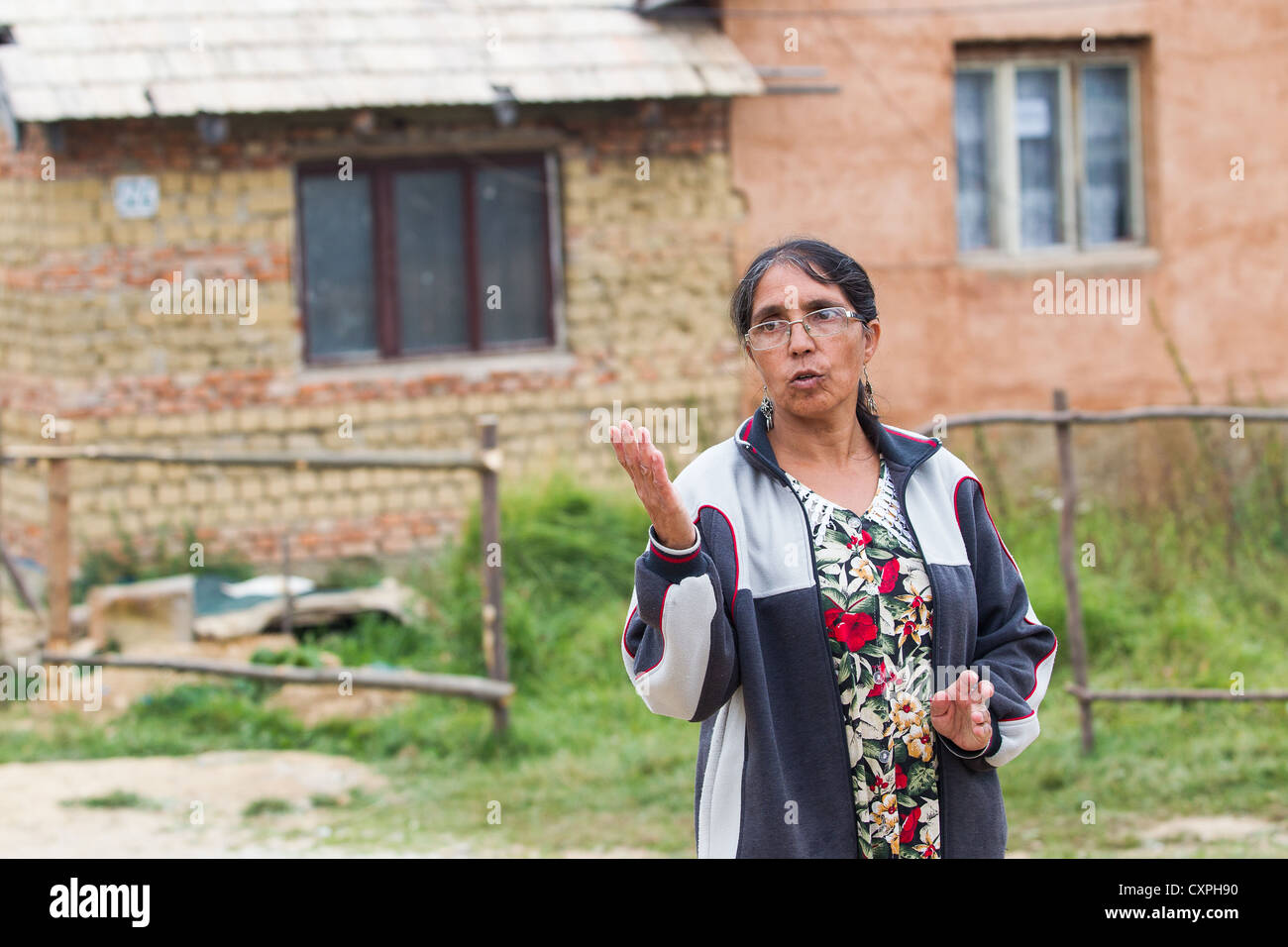 Romanies seen in Krasnohorske Podhradie village east Slovakia September 29 2012 Slovak far-right politician Marian - Stock Image