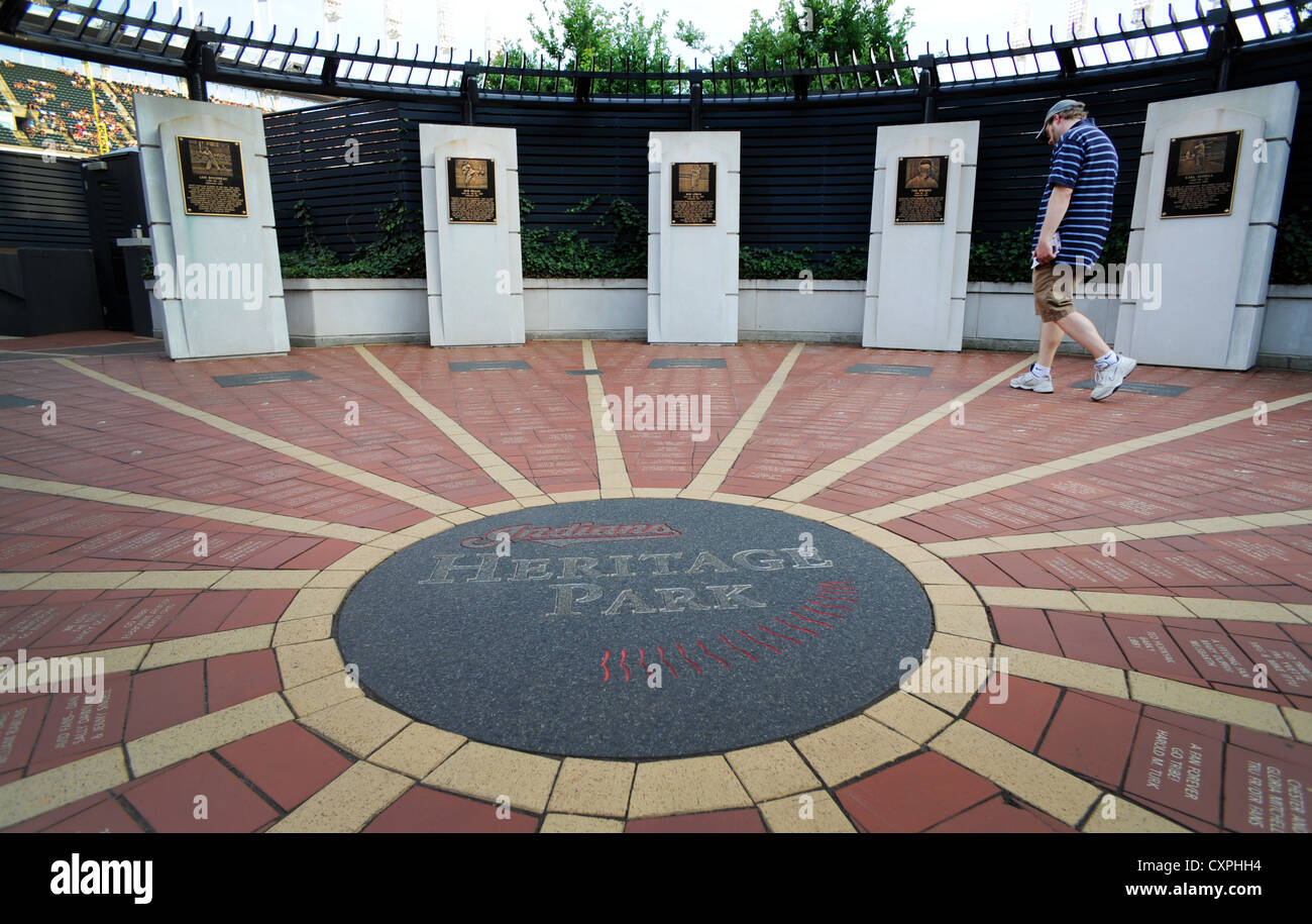 A fan looks at Heritage Park at Progressive Field in Cleveland, OHIO. - Stock Image