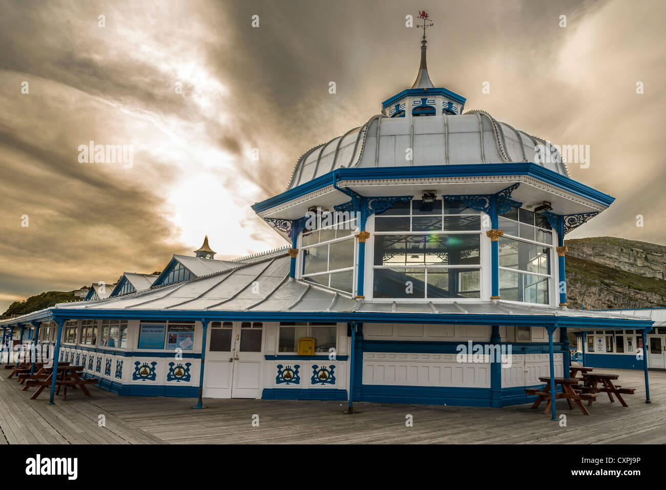 The amusement arcade on the end of the pier at Llandudno in North Wales. Clwyd Stock Photo