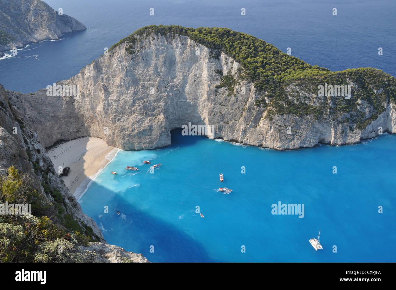A panorama over Shipwreck Bay, Zante (Zakynthos), Ionian Islands, Greece - Stock Image