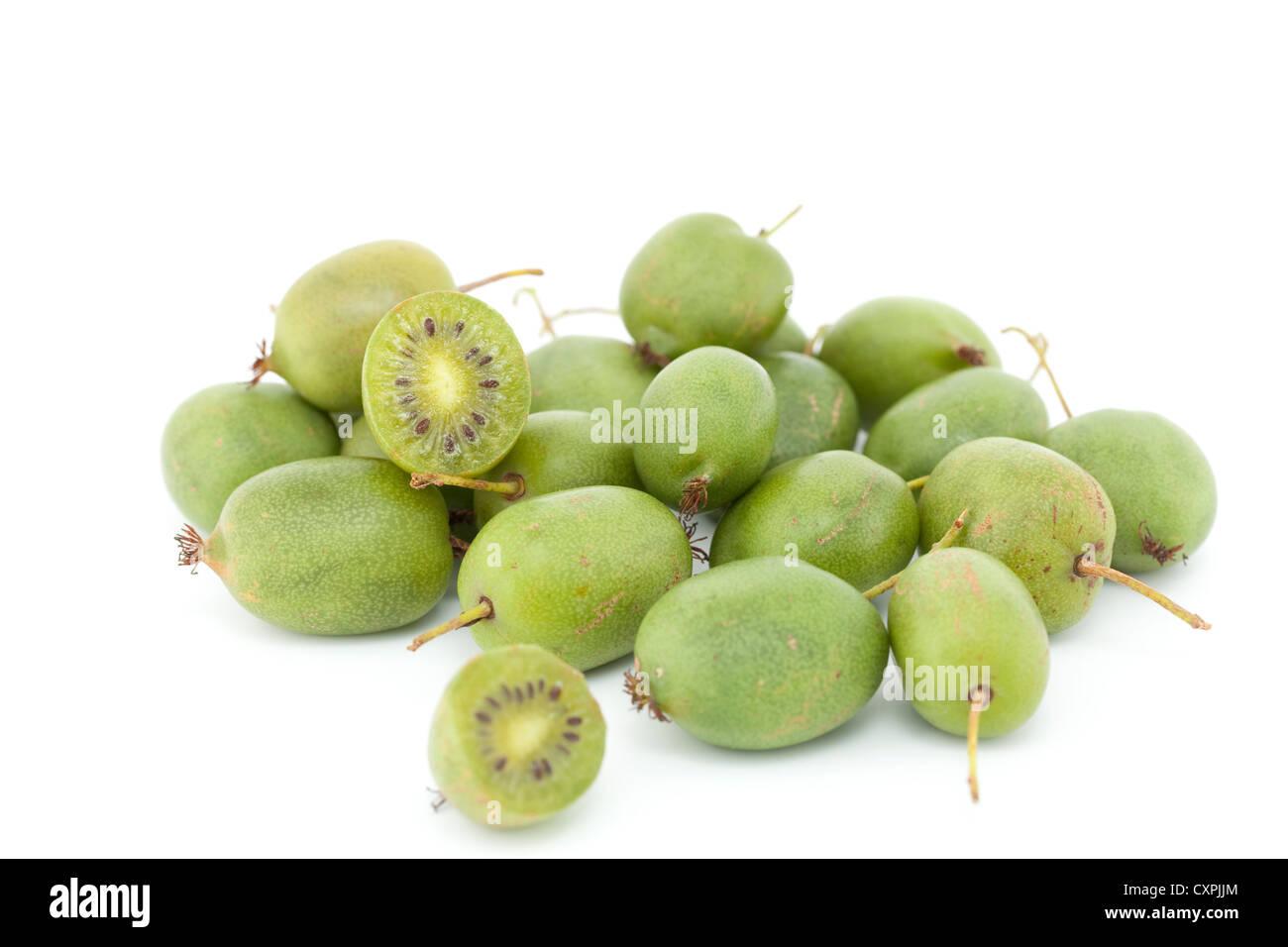 little green kiwi fruit on white background - Stock Image
