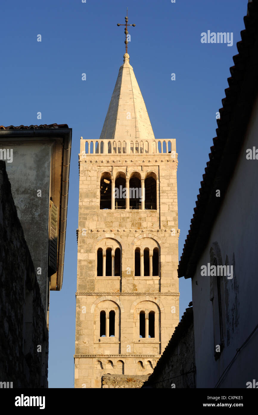 croatia, kvarner, rab island, old town, cathedral of st mary the great, romanesque church, belltower Stock Photo