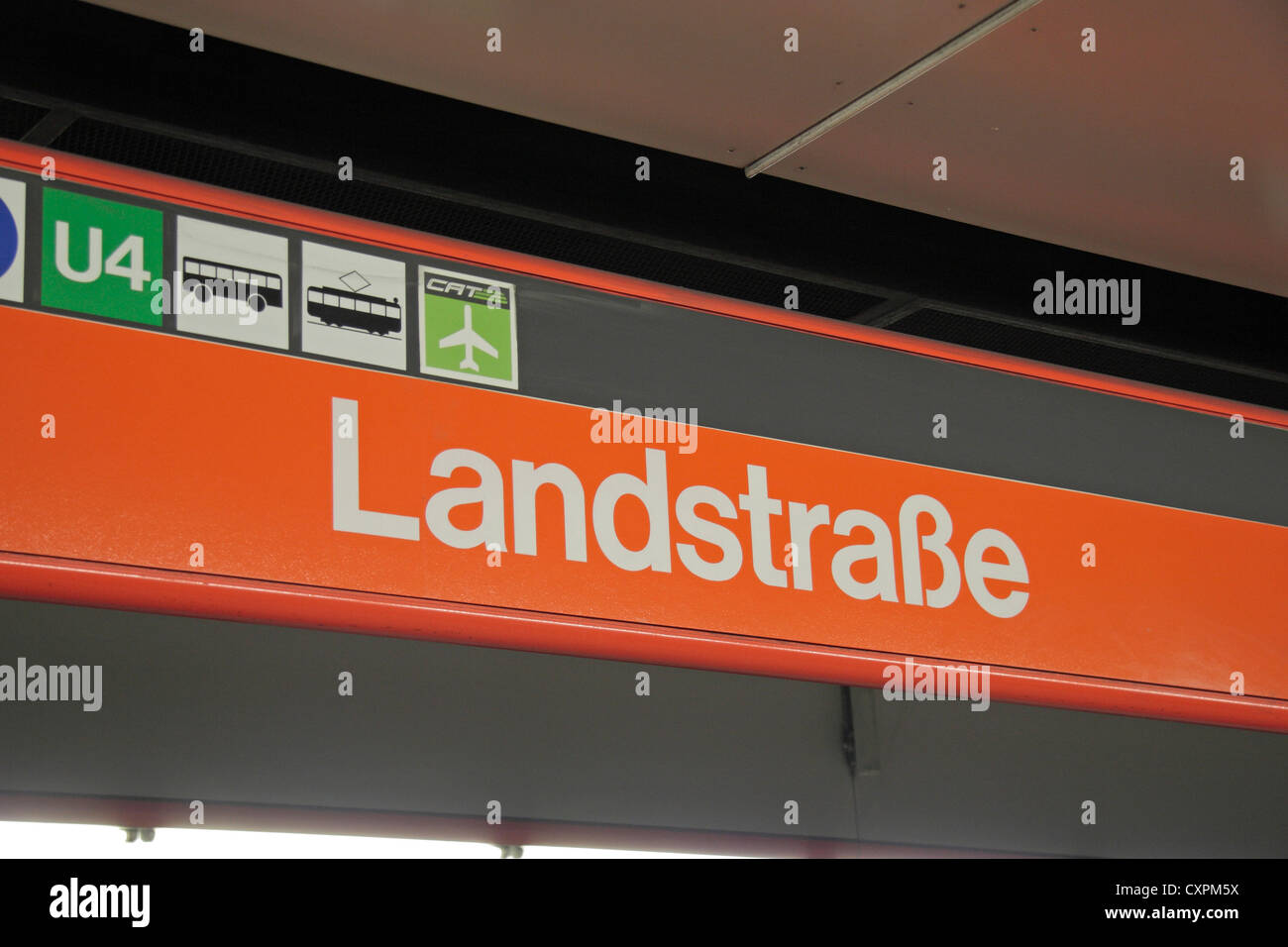 Station name outside the Landstrasse in Vienna (Wien), Austria. Stock Photo