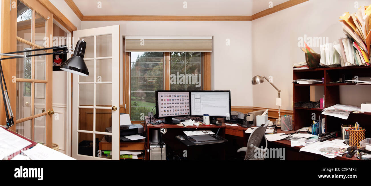Panoramic view of a home office - Stock Image