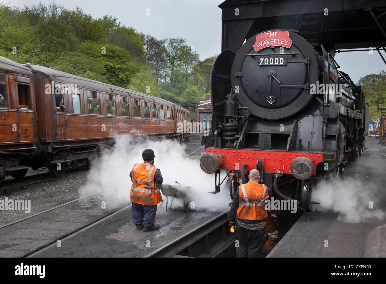 BR standard class 7 locomotive 70000 Britannia at Grosmont