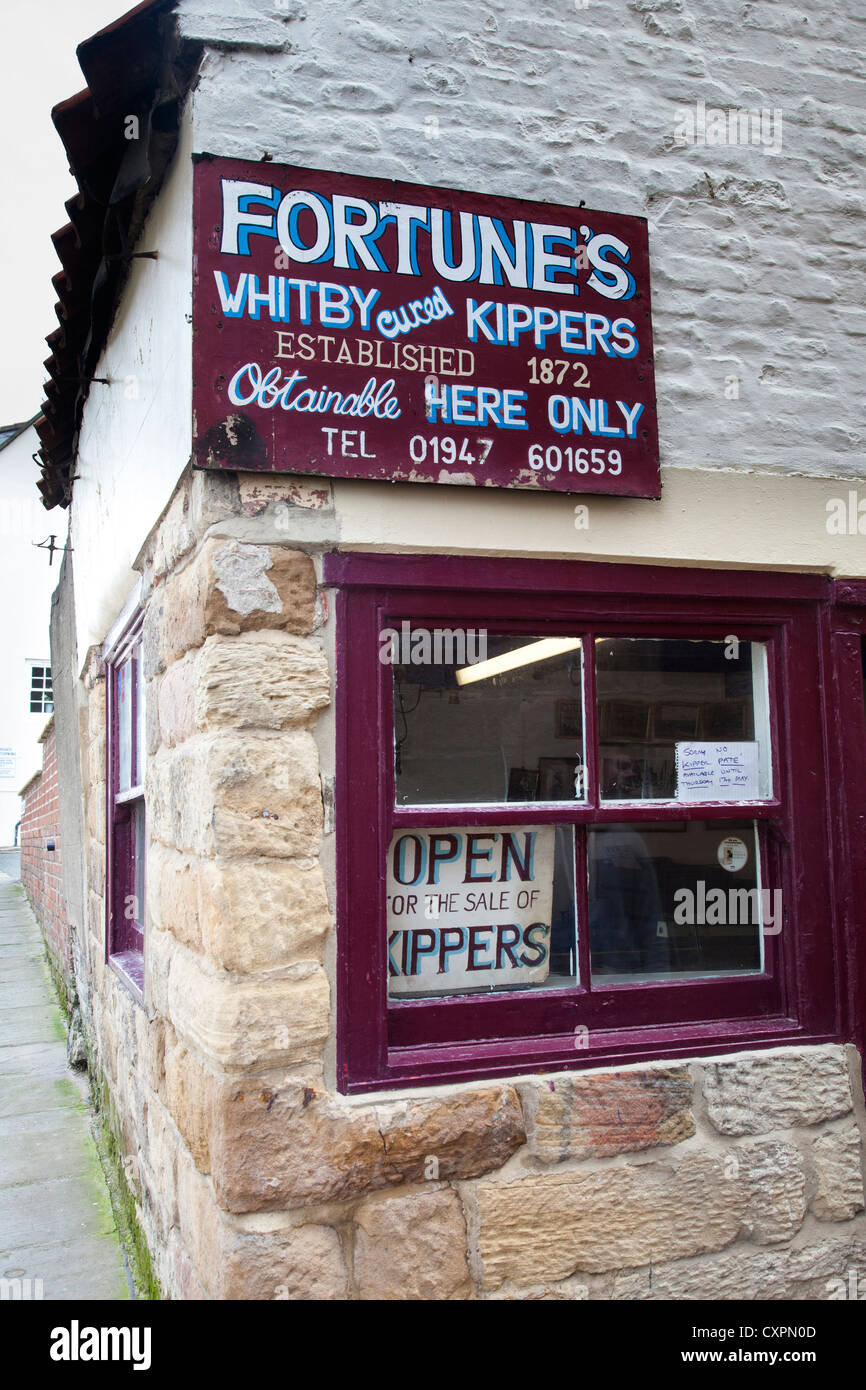 Fortunes Kipper Factory and Shop, Whitby, North Yorkshire - Stock Image