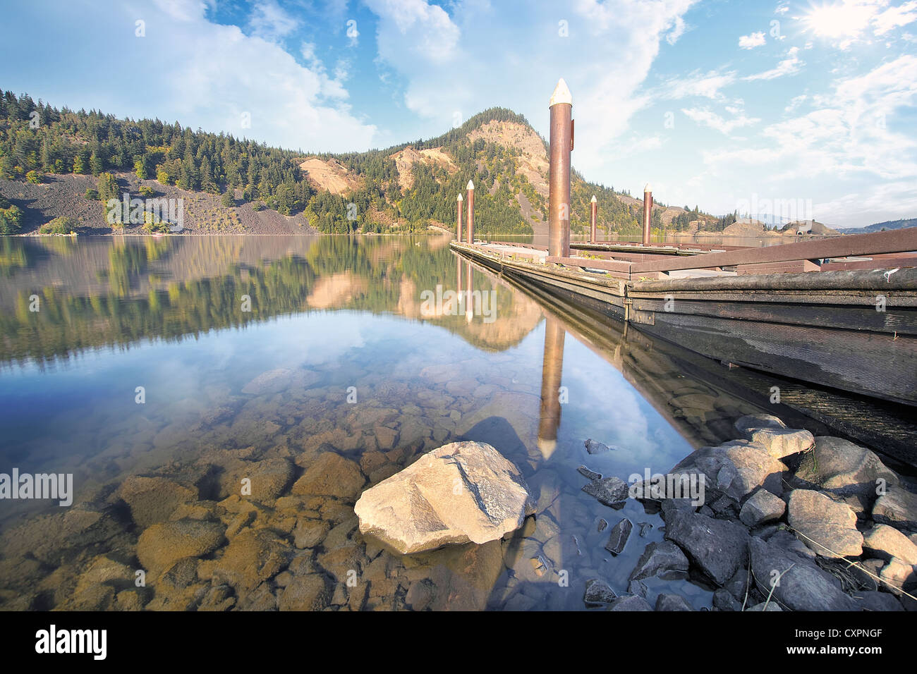 Boat Docks Moorage at Drano Lake in Washington State - Stock Image