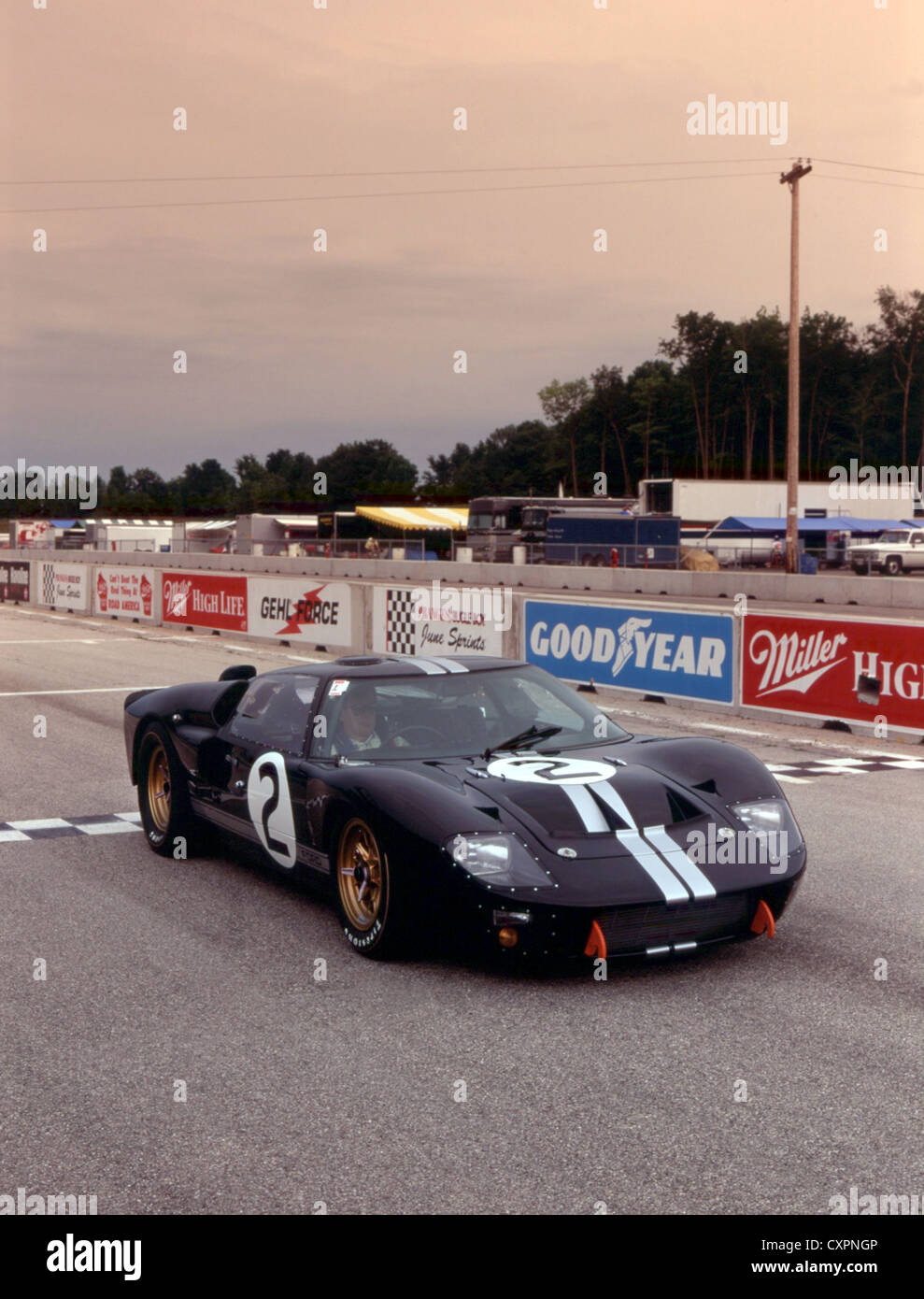 Ford GT40 MKII at Road America Elkhart lake race track.Winner 1966 Le Mans 24 hour race - Stock Image
