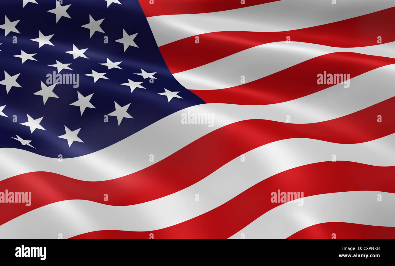 American flag waving in the wind. Part of a series. - Stock Image