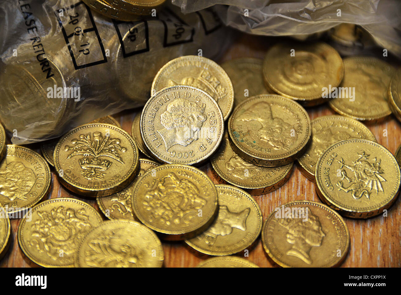 Pound Coins loose Stock Photo
