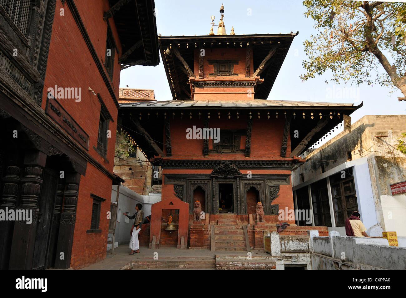 Asia India Uttar Pradesh Varanasi a Nepali Hindu Temple - Stock Image