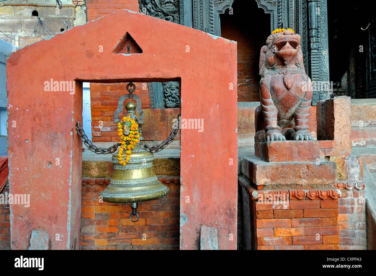 Asia India Uttar Pradesh Varanasi  The entrance to the Nepali Hindu Temple - Stock Image
