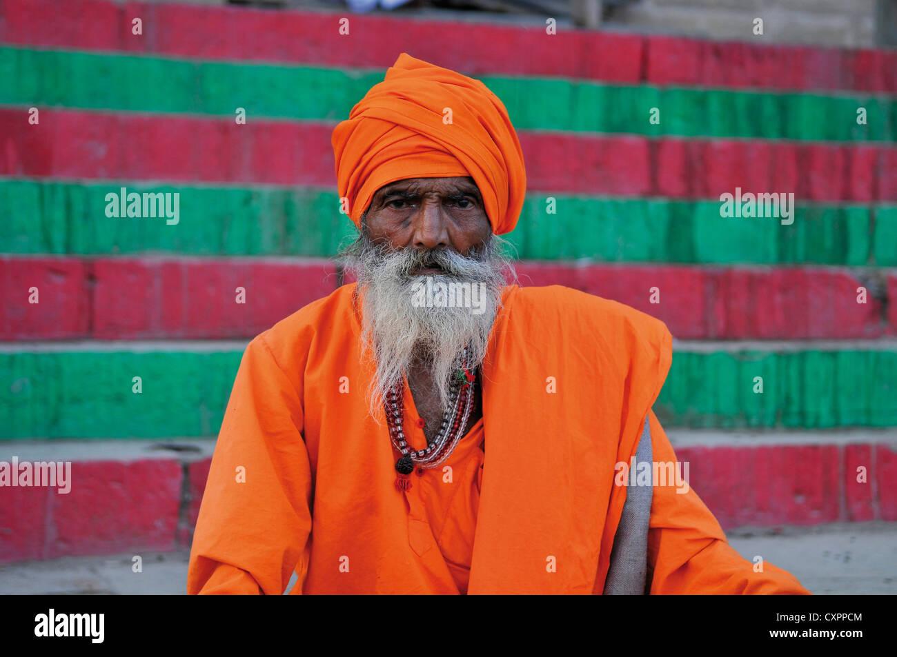 Asia India Uttar Pradesh Varanasi Portrait of a sadhu or ascetic Stock Photo