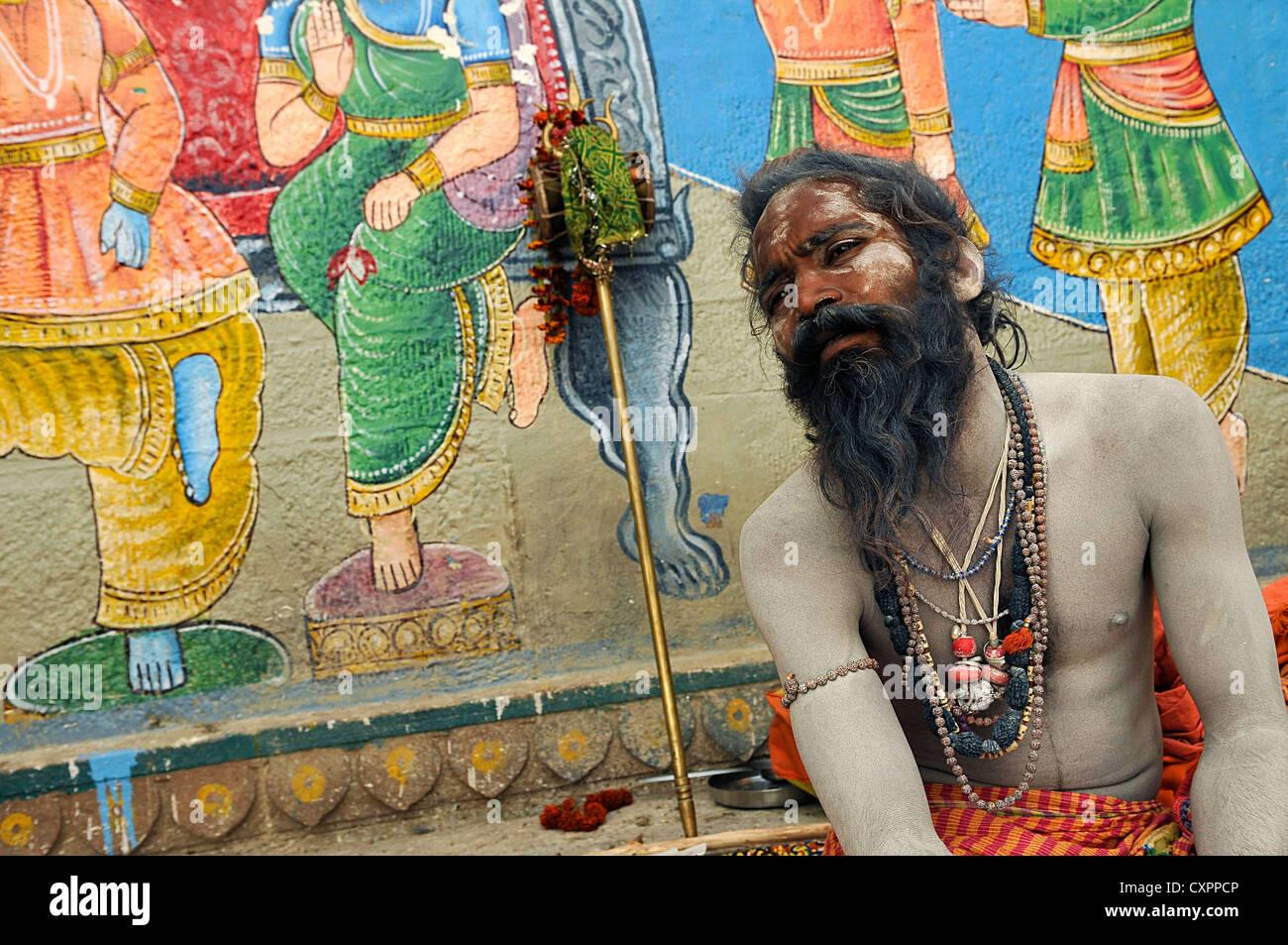 Asia India Uttar Pradesh Varanasi Portrait of a sadhu or ascetic - Stock Image