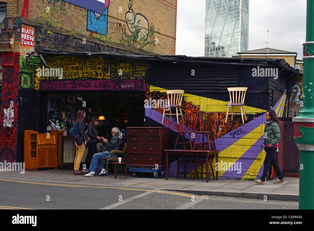 a 2nd hand furniture store in Brick Lane, London - Stock Image