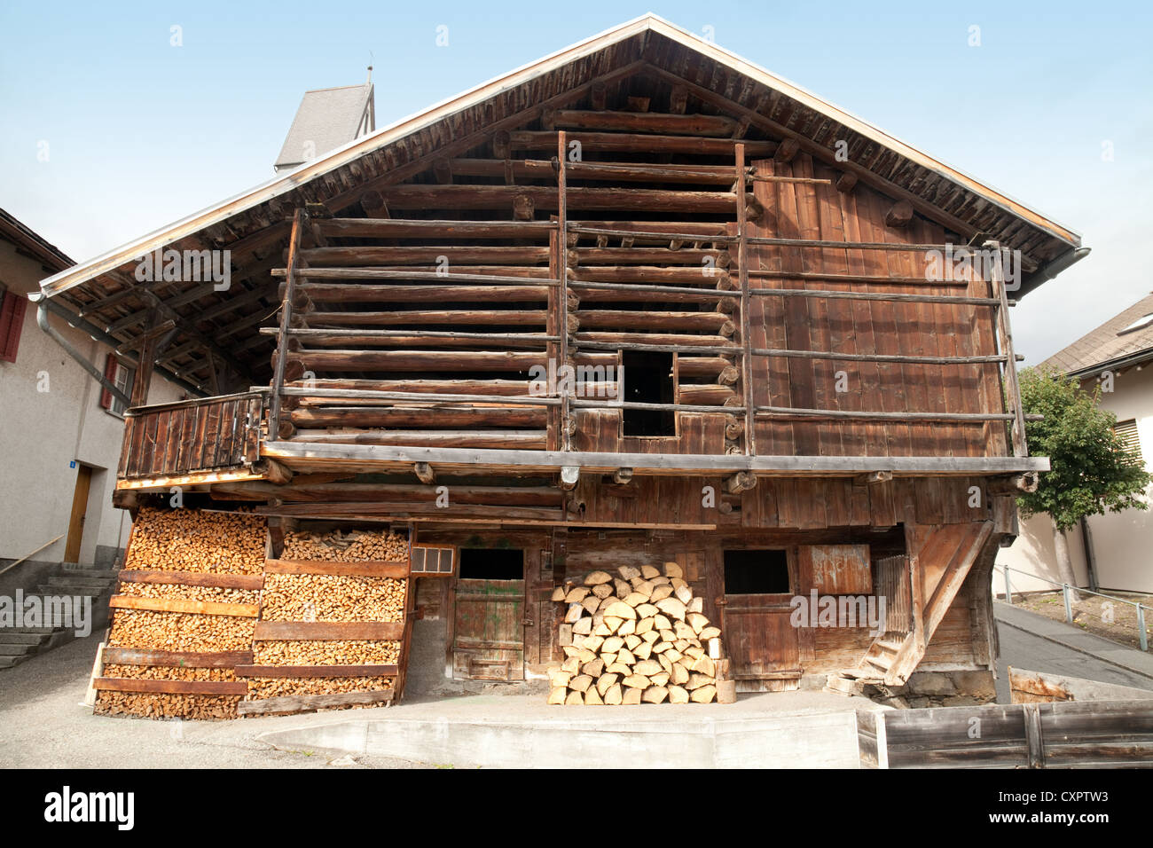 Swiss barn and wood store, Flims, Switzerland - Stock Image