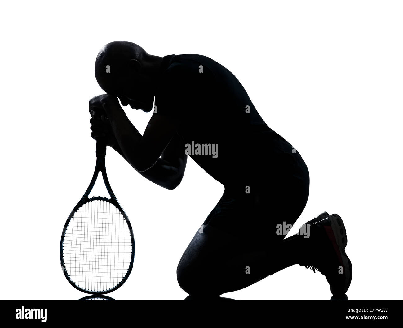 man african afro american playing tennis player on studio isolated on white background - Stock Image