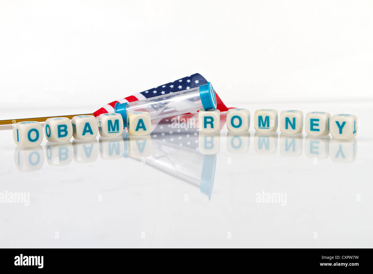 The American Election of 2012 looks to be a close run race between Barack Obama and Mitt Romney Stock Photo