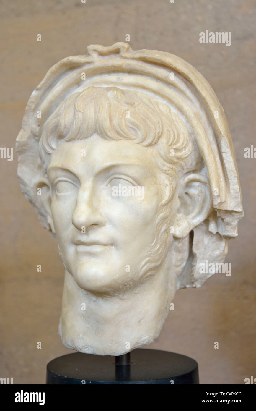 Portrait of Emperor Nero in The Archaeological Museum, Ancient Corinth, Corinth Municipality, Peloponnese Region, - Stock Image