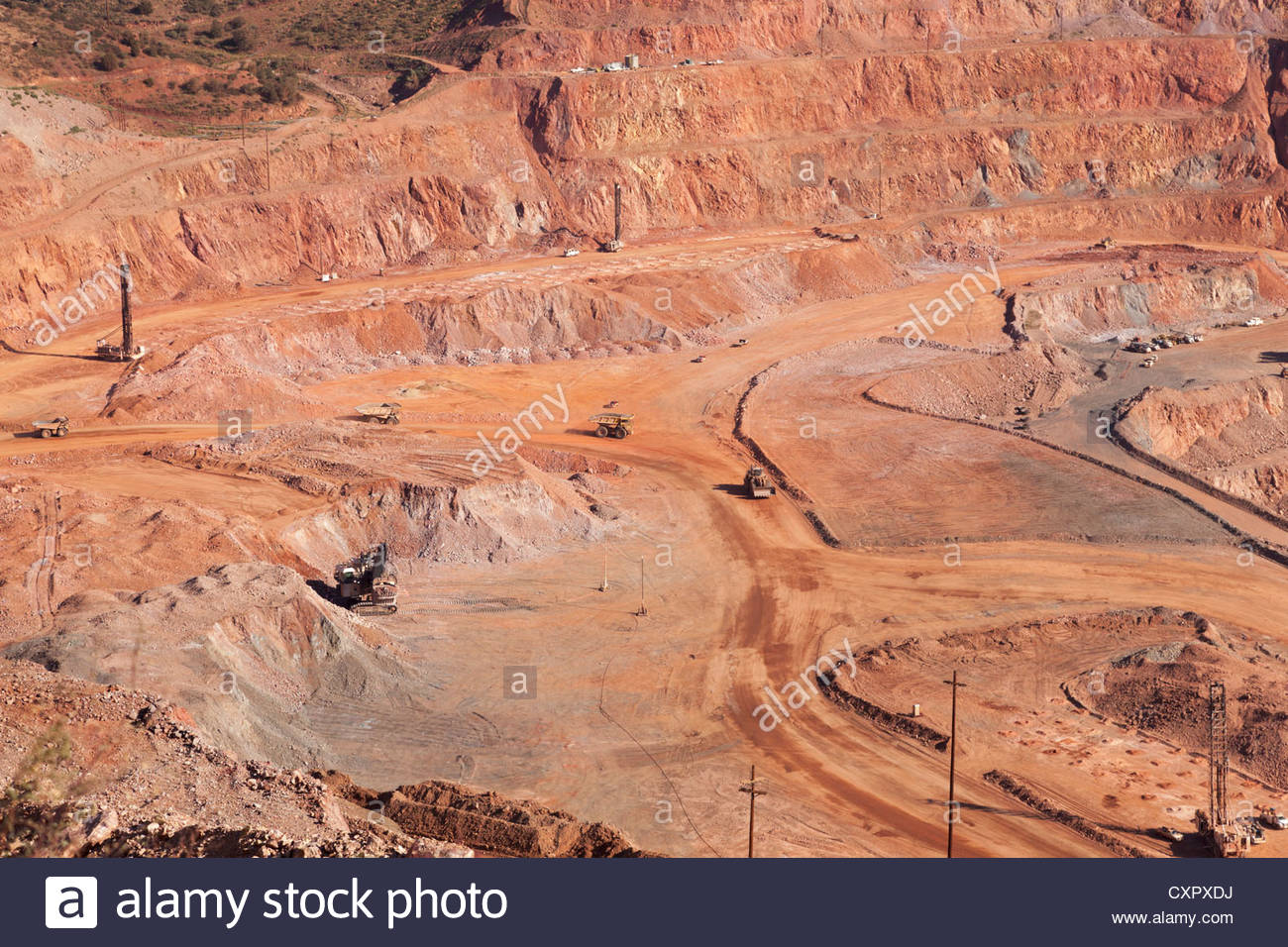 Northwest Extension Pit Morenci Complex Freeport McMoRan Copper Gold Arizona  people barely  visible - Stock Image