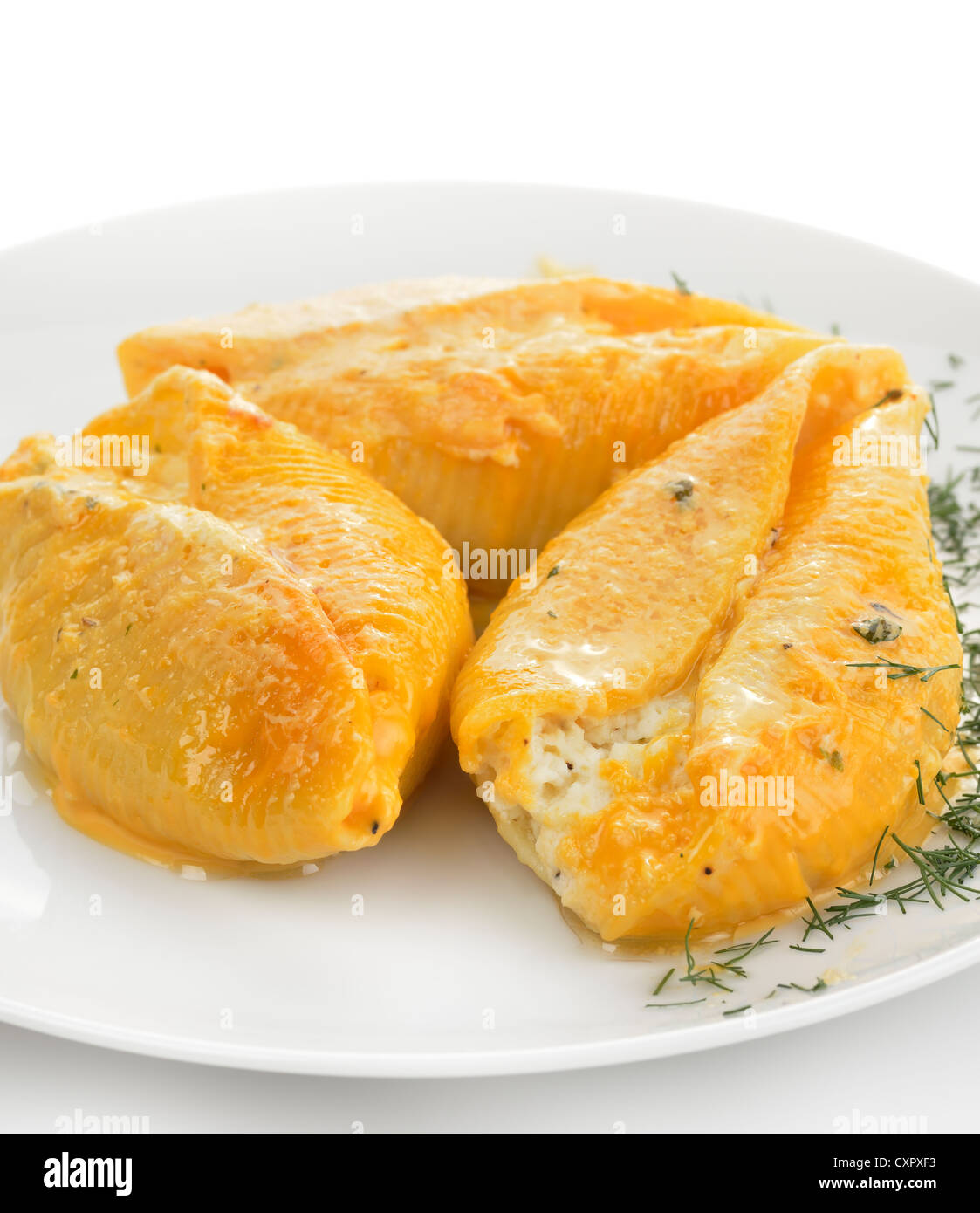 Large Pasta Shells Filled With Ricotta, Mozzarella And Parmesan Cheese. - Stock Image
