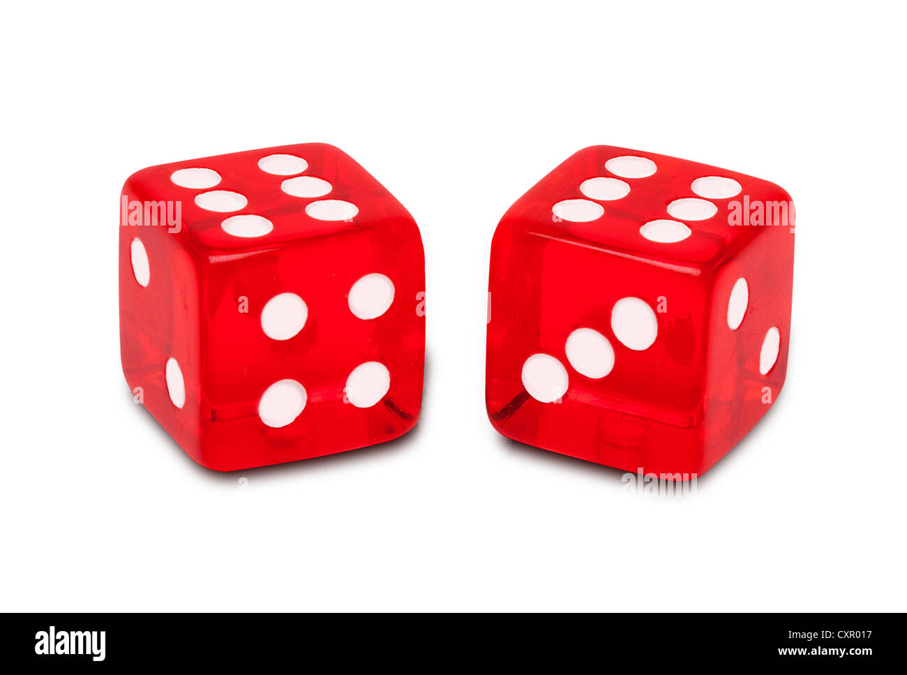 Two red dice - Stock Image
